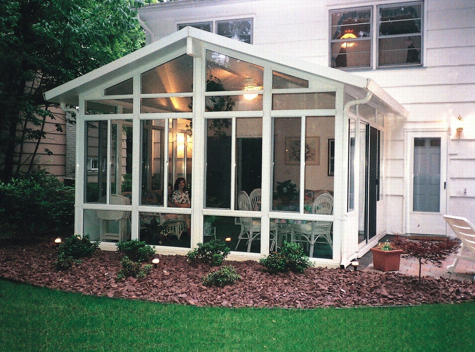 Aluminum solid cathedral roof sunroom by sunboss room for Porch sunroom
