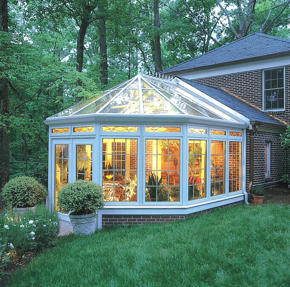 Victorian conservatory with wood interior for Room addition