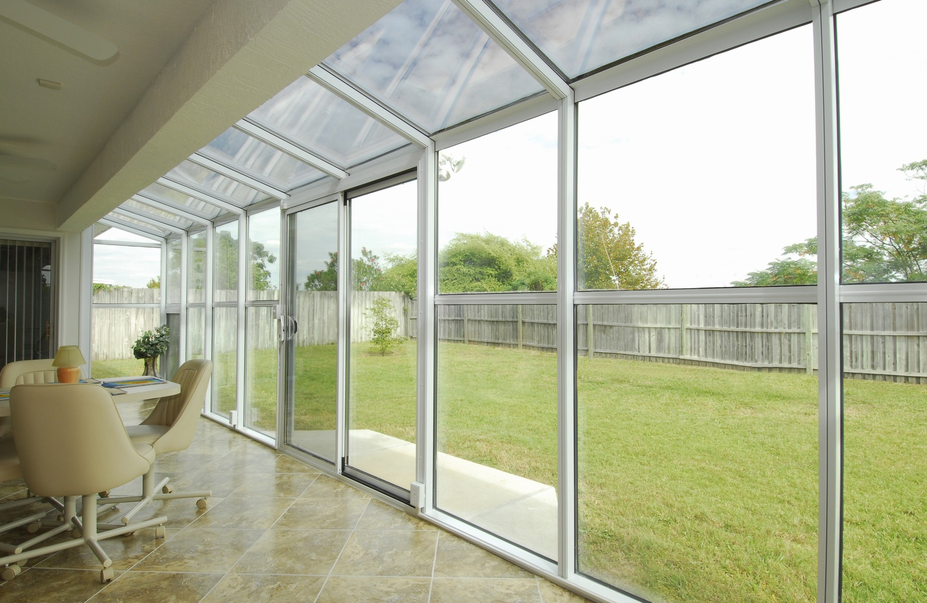 Aluminum Straight Glass Roof Sunroom