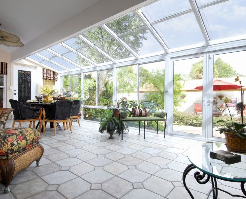 Straight Glass Roof Sunroom or Patio Room with Aluminum Frame