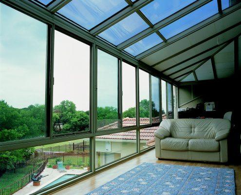 Hybrid Straight Glass Roof Sunroom or Patio Enclosure
