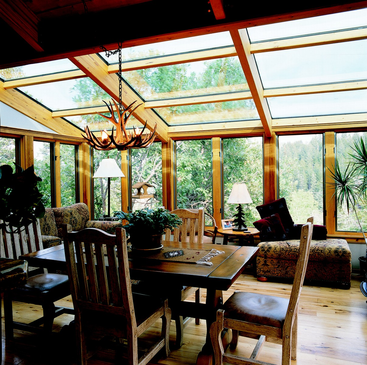 Straight Glass Roof Sun Room Or Solarium With Wood Interior