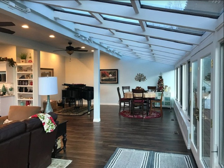 Four Seasons System 9 all glass straight eave sun room Oak Glen, CA