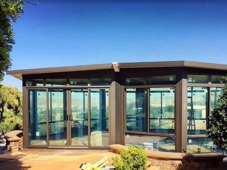 Built A Free Standing Glass Wall Sunroom Corona Ca